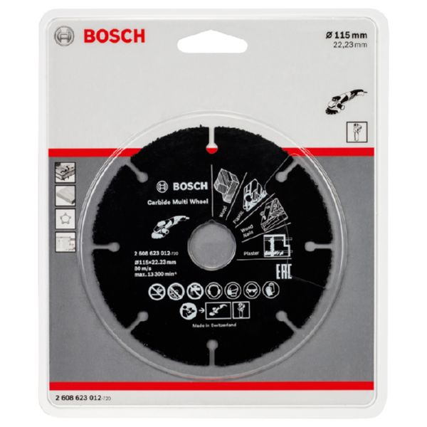 DISC TALL MULTIMATERIALS CARBURO Ø 115X22,23MM. BOSCH.